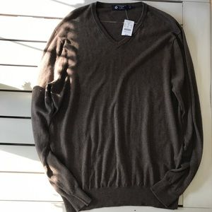 J Crew Cotton Cashmere V Neck Sweater L